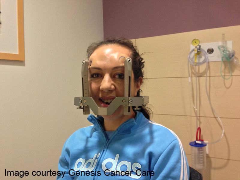 Patient fitted with Gamma Knife Head Frame